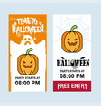 happy halloween invitation design with pumpkin vector image