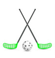 hockey sticks and the ball from the florbla on vector image