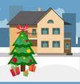 house and decorated cute fir tree vector image vector image