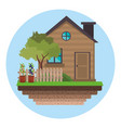house with fence tree garden vector image