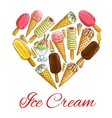 Ice cream seamless sketch pattern background vector image vector image