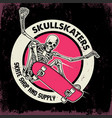 jumping skull riding skateboard vector image