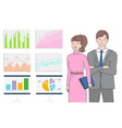 man and woman looking at statistics on board vector image vector image
