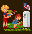 memorial day mother with child cemetery little vector image vector image
