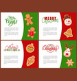merry christmas cards with gingerbreads vector image vector image