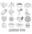 mexican food theme set of simple outline icons eps vector image