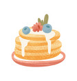 pile of freshly-baked pancakes with blueberry vector image