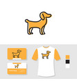 puppy logo design with business card and t shirt vector image vector image