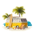 realistic vintage surfer van on the beach vector image vector image