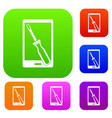 renovation phone set color collection vector image vector image