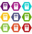 riot shield icon set color hexahedron vector image vector image
