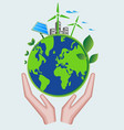 save world and eco friendly concept green world vector image