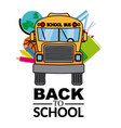 school bus with school objects vector image