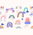 seamless childish pattern with cute rainbows and vector image
