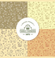 set four seamless patterns farm vector image vector image