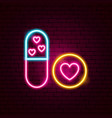 sex pills neon sign vector image vector image