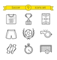 Soccer linear icons set vector image