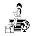 student woman with laptop books and school globe vector image vector image