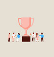 successful people group stand winner cup trophy vector image