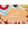 summer theme with toys and shells on beach vector image vector image