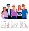 teamwork presentation graph report work vector image vector image