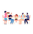 thanksgiving dinner cartoon family eating vector image