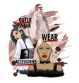 three girls model in fashionable clothes vector image