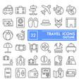 travel thin line icon set vacation symbols vector image