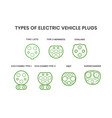 types electric vehicle plugs electro vector image