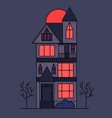 victorian house at night on background the vector image