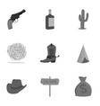 Wild west set icons in monochrome style Big vector image