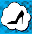 woman shoe sign black icon in bubble on vector image