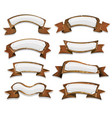 wood banners and ribbons for game ui vector image vector image