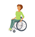 young beautiful woman sitting in wheelchair vector image vector image