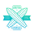 surfing courses emblem badge logo vector image