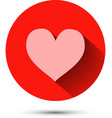 Pink heart icon on red background with shadow vector image