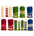 set of burning decorative christmas candles vector image