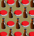 steel red cover and glass bottle background vector image