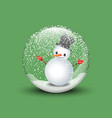3d render of a snow globe with snowman in green vector image