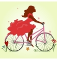 A young girl in a red dress rides a Bicycle vector image vector image