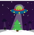 Alien and christmas tree vector image