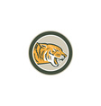 Angry Tiger Head Growling Side Circle Retro vector image vector image