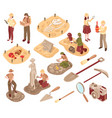 archeology isometric set vector image vector image