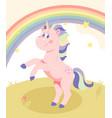 beautiful pink unicorn vector image vector image