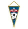 Blue soccer pennant isolated white