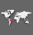 brazil pink highlighted in map of world light vector image vector image