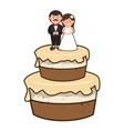 cake with couple just married character vector image vector image
