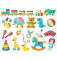 cartoon kids toys baplastic and wooden toys vector image vector image