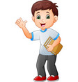 cartoon little boy holding book vector image vector image