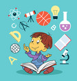 child with book and education icons vector image